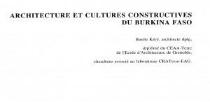 architecture et cultures constructives du burkina faso