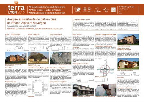 Analyse et sinistralité du bâti en Pisé en Rhône Alpes et Auvergne SCARATO PASCAL & JEANNET JACKY
