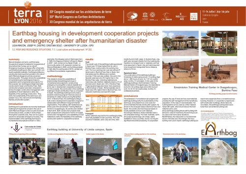 Earthbag housing in development cooperation projects and emergency shelter after humanitarian disaster. RINCON LIDIA ; CASTRO JOSEP RAMON ; SOLE CRISTIAN