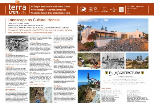 Landscape as cultural habitat: the Conflicts, Process and Solution of Preserving a 10,000 Year Old Native American Burial Site While Rehabilitating a Modern Heritage Building	 STIEGLER, WILLIAMS ET LUCAS