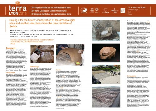 Saving it for the future: conservation of the archaeological sites and earthen structures from the Late Neolithic of Serbia. BRANISLAVA LAZAREVIC TOSOVIC, STEVAN DURICIC