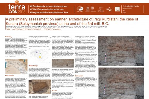 A preliminary assessment on earthen architecture of Iraqi Kurdistan: The case of Kunara (Suleymanieh province) at the end of the 3rd mill. B.C.	PERELLO BERENGERE ; TENU ALINE ; KEPINSKI CHRISTINE